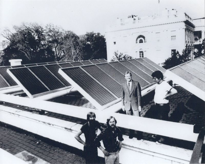 One of the first solar panels at the White House.