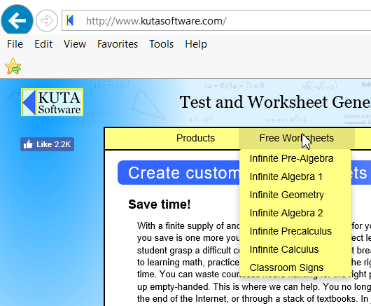 Kuta Software worksheet categories