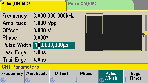 Pulse setup on 33600A function generator