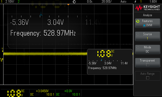 screenshot of the frequency counter measuring 529 MHz