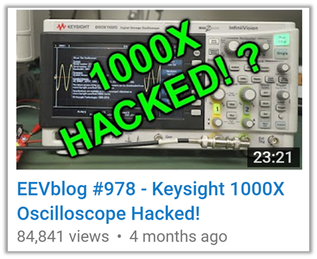after its release, the EEVBlog YouTube channel posted an oscilloscope hack