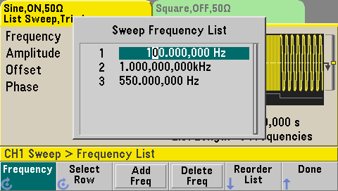 Frequency list setup