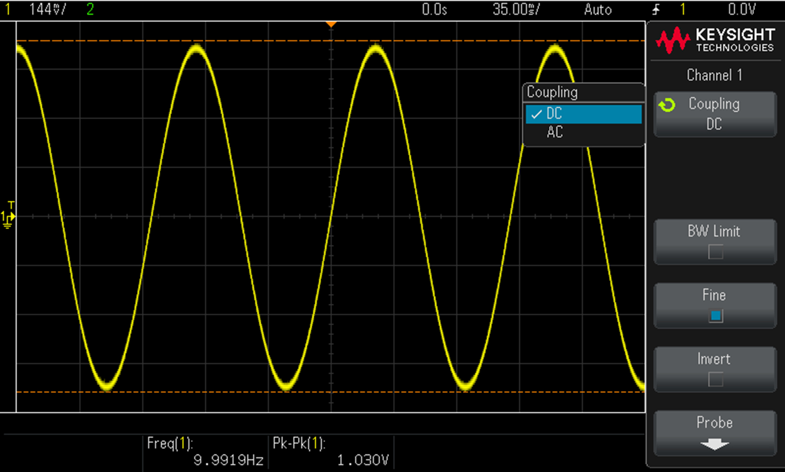 A DC Coupled sine wave