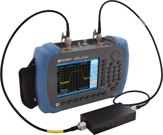 a tracking generator connected to a handheld spectrum analyzer to measure the two-port transmission of filters and amplifiers, including insertion loss, amplifier gain, and filter pass-band.