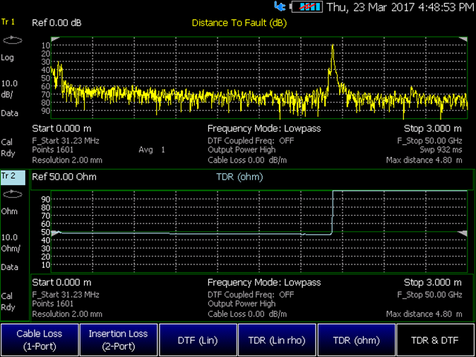 Figure 3. DTF and TDR measurements of a transmission line captured on a FieldFox handheld analyzer